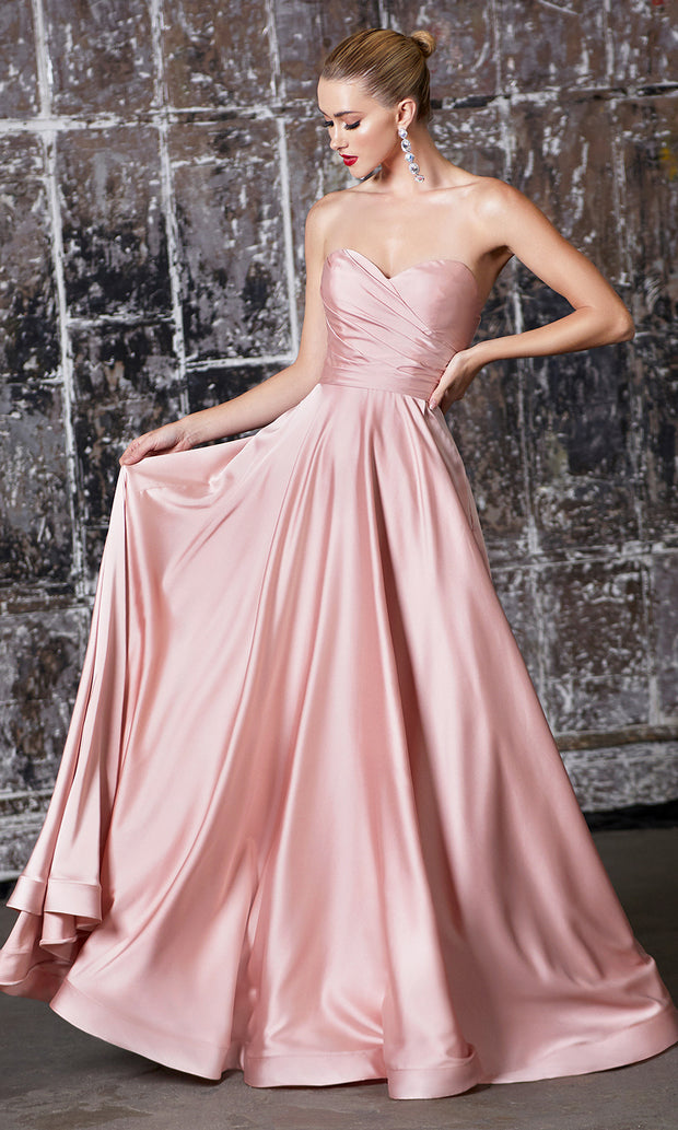 Cinderella Divine CD0165 blush pink strapless simple dress w/empire waist & high slit. Perfect light pink dress for prom, bridesmaid dress, formal party dress. Plus sizes avail.jpg