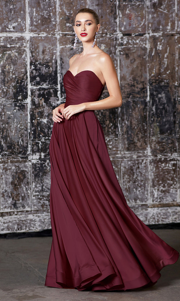 Cinderella Divine CD0165 burgundy red strapless simple dress w/empire waist & high slit. Perfect dark red dress for prom, bridesmaid dress, formal party dress. Plus sizes avail.jpg