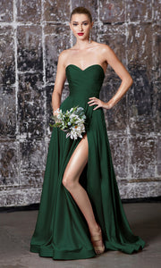 Cinderella Divine CD0165 dark green strapless simple dress w/empire waist & high slit. Perfect hunter green dress for prom, bridesmaid dress, formal party dress. Plus sizes avail.jpg