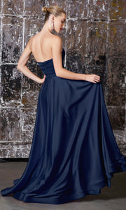 Cinderella Divine CD0165 navy blue strapless simple dress w/empire waist & high slit. Perfect dark blue dress for prom, bridesmaid dress, formal party dress. Plus sizes avail.jpg