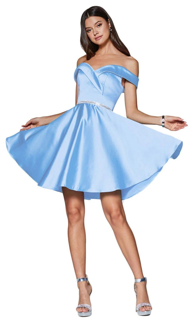 Cinderella Divine CD140 short aqua blue flowy simply taffeta satin off shoulder party dress w/ belt. Light Blue simple dress is perfect for prom, graduation, grade 8 grad, confirmation dress, bat mitzvah dress, quinceanera damas. Plus sizes avail