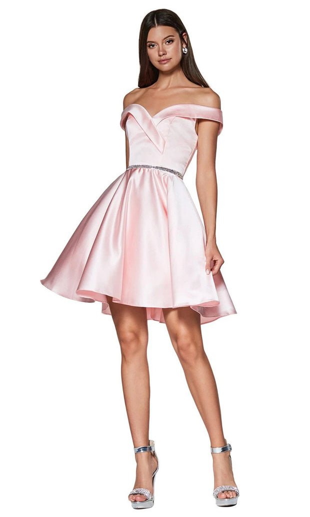 Cinderella Divine CD140 short blush pink flowy simply taffeta satin off shoulder party dress w/ belt. Light pink simple dress is perfect for prom, graduation, grade 8 grad, confirmation dress, bat mitzvah dress, quinceanera damas. Plus sizes avail