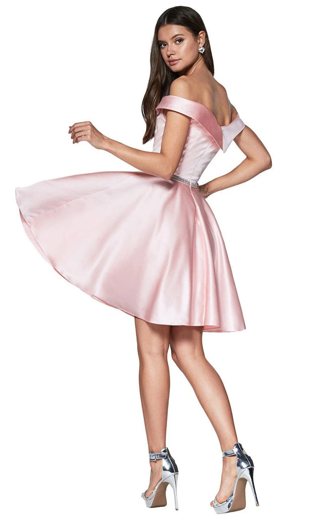 Cinderella Divine CD140 short blush pink flowy simply taffeta satin off shoulder party dress w/ belt. Light pink simple dress is perfect for prom, graduation, grade 8 grad, confirmation dress, bat mitzvah dress, quinceanera damas. Plus sizes avail-b