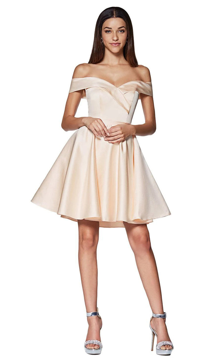 Cinderella Divine CD140 short champagne gold flowy simply taffeta satin off shoulder party dress w/ belt. Light gold simple dress is perfect for prom, graduation, grade 8 grad, confirmation dress, bat mitzvah dress, quinceanera damas. Plus sizes avail