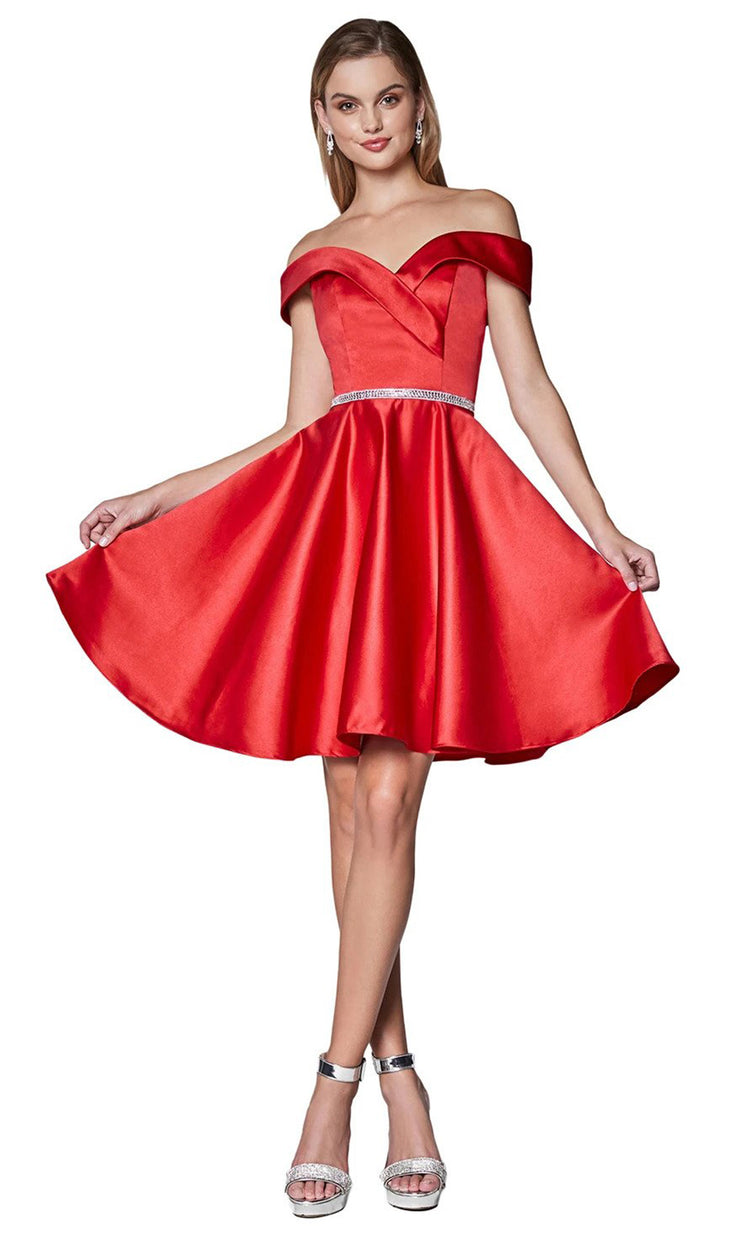 Cinderella Divine CD140 short red flowy simply taffeta satin off shoulder party dress w/ belt. Red simple dress is perfect for prom, graduation, grade 8 grad, confirmation dress, bat mitzvah dress, quinceanera damas. Plus sizes avail