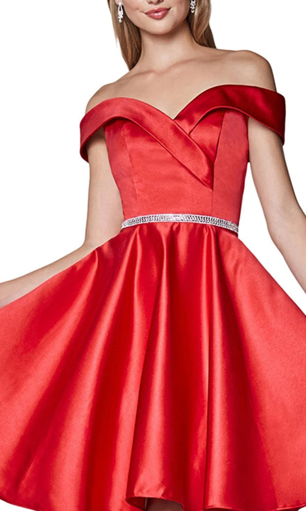 Cinderella Divine CD140 short red flowy simply taffeta satin off shoulder party dress w/ belt. Red simple dress is perfect for prom, graduation, grade 8 grad, confirmation dress, bat mitzvah dress, quinceanera damas. Plus sizes avail-c
