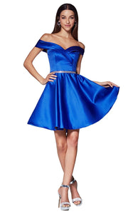 Cinderella Divine CD140 short royal blue flowy simply taffeta satin off shoulder party dress w/ belt. Royal blue simple dress is perfect for prom, graduation, grade 8 grad, confirmation dress, bat mitzvah dress, quinceanera damas. Plus sizes avail