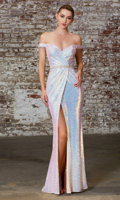 Cinderella Divine CD158 opal white off shoulder sequin beaded dress w/high slit. Perfect two tone white dress for prom, wedding reception or engagement dress, indowestern gown, sweet 16, formal party dress, . Plus sizes avail.jpg