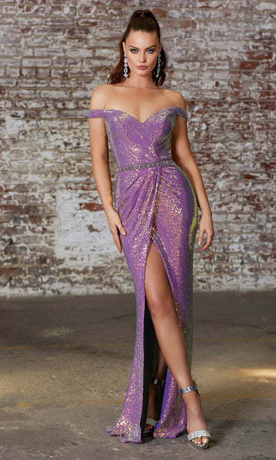 Cinderella Divine CD158 purple off shoulder sequin beaded dress w/high slit. Perfect two tone purple dress for prom, wedding reception or engagement dress, indowestern gown, sweet 16, formal party dress, gala, black tie event. Plus sizes avail.jpg