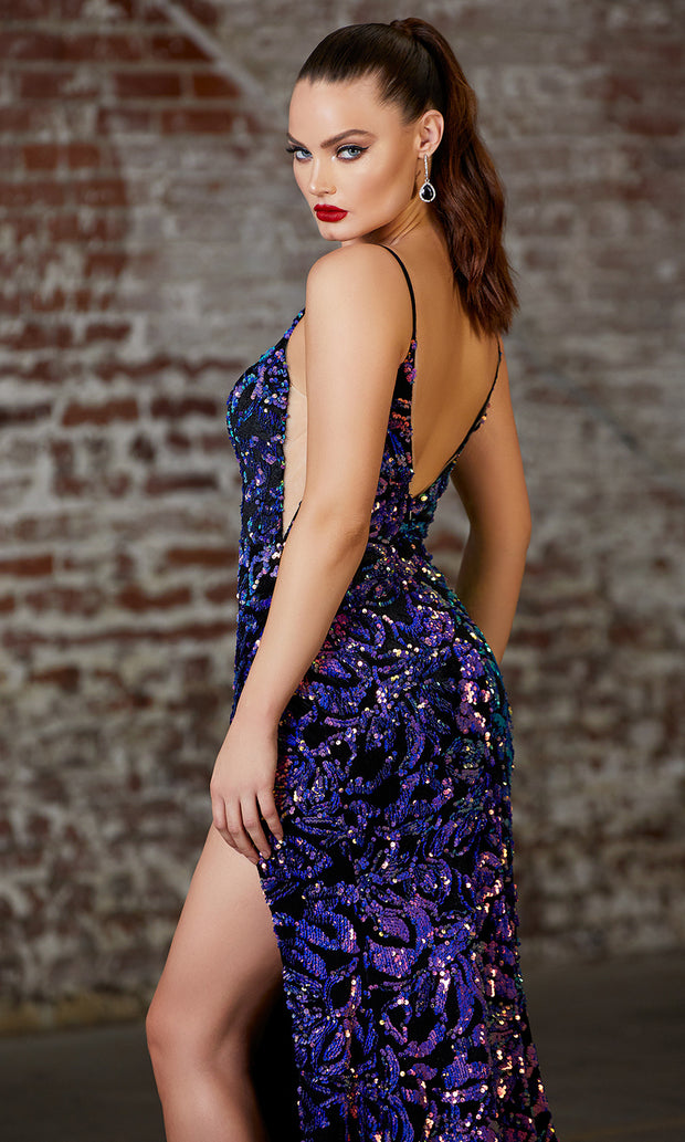 Cinderella Divine CD159 purple v neck sequin beaded dress w/high slit, open back, and . Perfect two tone dress for prom, wedding reception or engagement dress, indowestern gown, sweet 16, formal party dress,gala, black tie event.Plus sizes avail-b.jpg