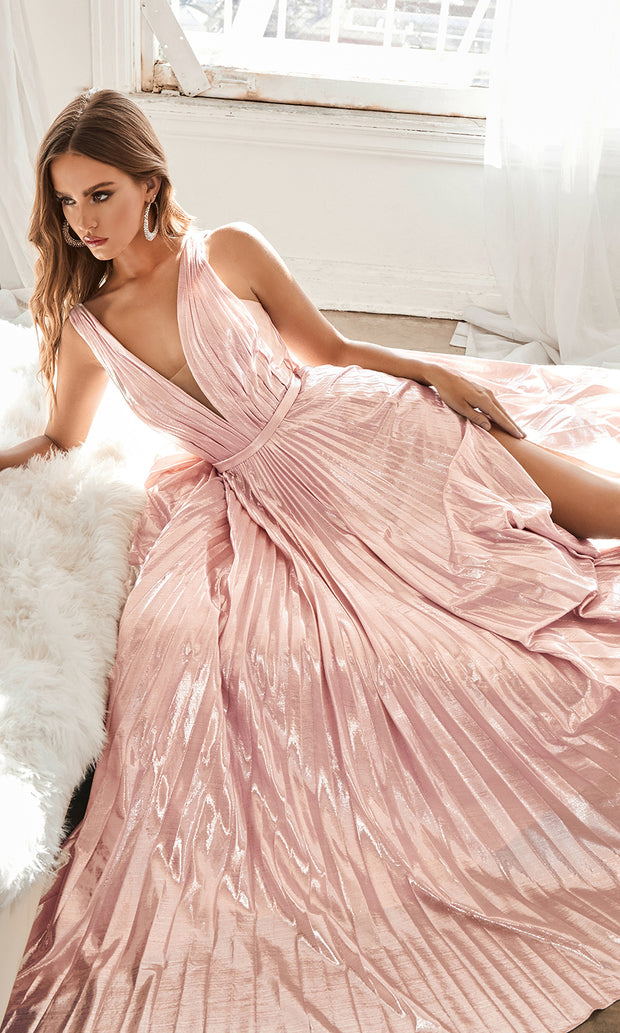 Cinderella Divine CD160 blush pink v neck simple dress w/empire waist & wide straps. Perfect light pink dress for prom, bridesmaid dress, formal party dress. Plus sizes avail.jpg