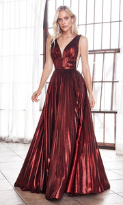 Cinderella Divine CD160 burgundy red v neck simple dress w/empire waist & wide straps. Perfect dark red dress for prom, bridesmaid dress, formal party dress. Plus sizes avail.jpg