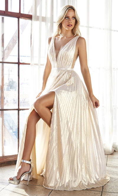 Cinderella Divine CD160 champagne v neck simple dress w/empire waist & wide straps. Perfect light gold dress for prom, bridesmaid dress, formal party dress. Plus sizes avail-2.jpg