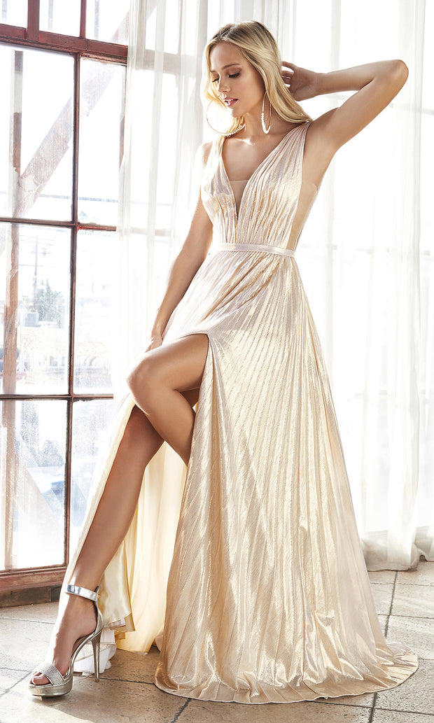 Cinderella Divine CD160 champagne v neck simple dress w/empire waist & wide straps. Perfect light gold dress for prom, bridesmaid dress, formal party dress. Plus sizes avail.jpg