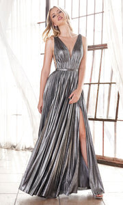 Cinderella Divine CD160 dark silver v neck simple dress w/empire waist & wide straps. Perfect dark grey dress for prom, bridesmaid dress, formal party dress. Plus sizes avail-2.jpg