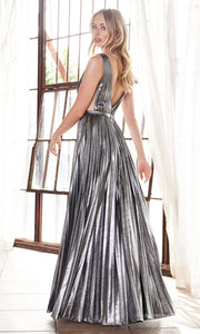 Cinderella Divine CD160 dark silver v neck simple dress w/empire waist & wide straps. Perfect dark grey dress for prom, bridesmaid dress, formal party dress. Plus sizes avail.jpg
