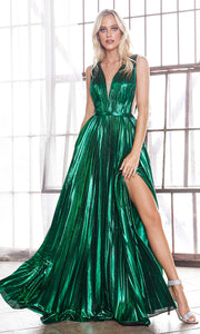 Cinderella Divine CD160 emerald green v neck simple dress w/empire waist & wide straps. Perfect dark green dress for prom, bridesmaid dress, formal party dress. Plus sizes avail-2.jpg