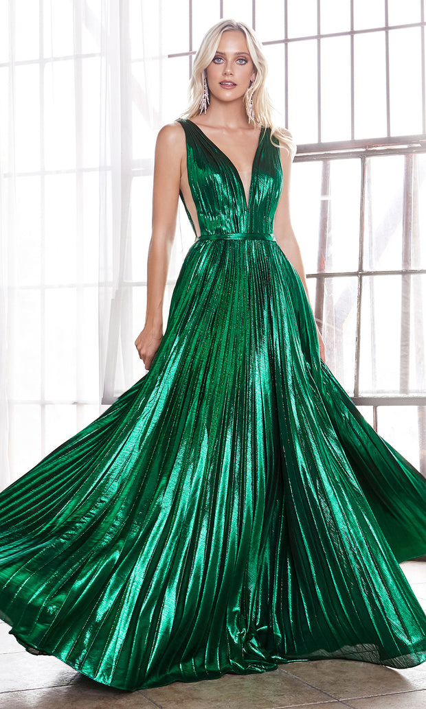 Cinderella Divine CD160 emerald green v neck simple dress w/empire waist & wide straps. Perfect dark green dress for prom, bridesmaid dress, formal party dress. Plus sizes avail.jpg