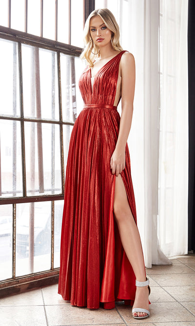 Cinderella Divine CD160 red v neck simple dress w/empire waist & wide straps. Perfect red dress for prom, bridesmaid dress, formal party dress. Plus sizes avail.jpg