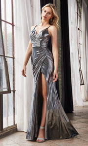 Cinderella Divine CD164 dark silver v neck simple dress w/straps & high slit. Perfect dark grey dress for prom, bridesmaid dress, formal party dress. Plus sizes avail.jpg