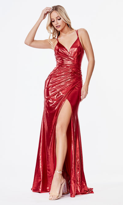 Cinderella Divine CD164 red v neck simple dress w/straps & high slit. Perfect red dress for prom, bridesmaid dress, formal party dress. Plus sizes avail.jpg