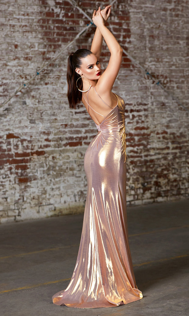 Cinderella Divine CD164 rose gold v neck simple dress w/straps & high slit. Perfect rose gold dress for prom, bridesmaid dress, formal party dress. Plus sizes avail-b.jpg