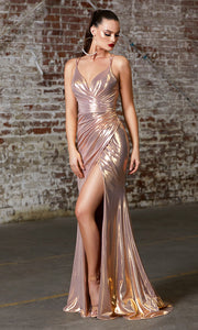 Cinderella Divine CD164 rose gold v neck simple dress w/straps & high slit. Perfect rose gold dress for prom, bridesmaid dress, formal party dress. Plus sizes avail.jpg