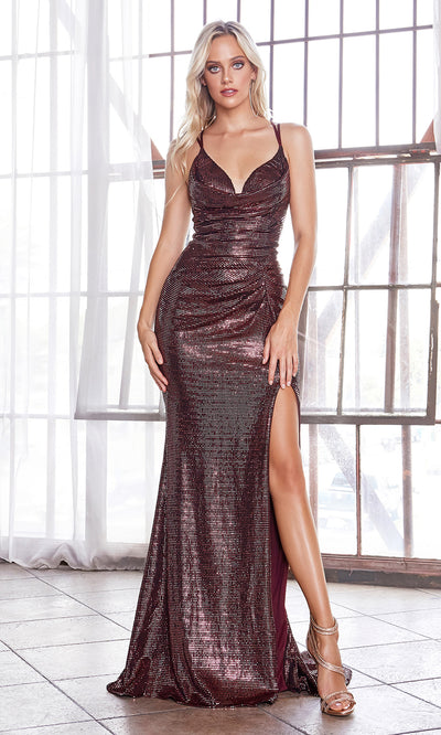 Cinderella Divine CD168 wine v neck sequin beaded dress w/high slit, open back. Perfect dark red dress for prom, wedding reception or engagement dress, indowestern gown, sweet 16, formal party dress, gala, black tie event. Plus sizes avail.jpg