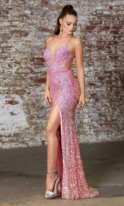 Cinderella Divine CD175 hot pink v neck sequin beaded dress whigh slit. Perfect bright pink dress for prom, wedding reception or engagement dress, indowestern gown, sweet 16, formal party dress, gala. Plus sizes avail