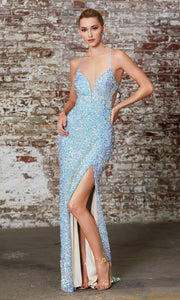Cinderella Divine CD175 opal blue v neck sequin beaded dress whigh slit. Perfect light blue dress for prom, wedding reception or engagement dress, indowestern gown, sweet 16, formal party dress, gala. Plus sizes avail