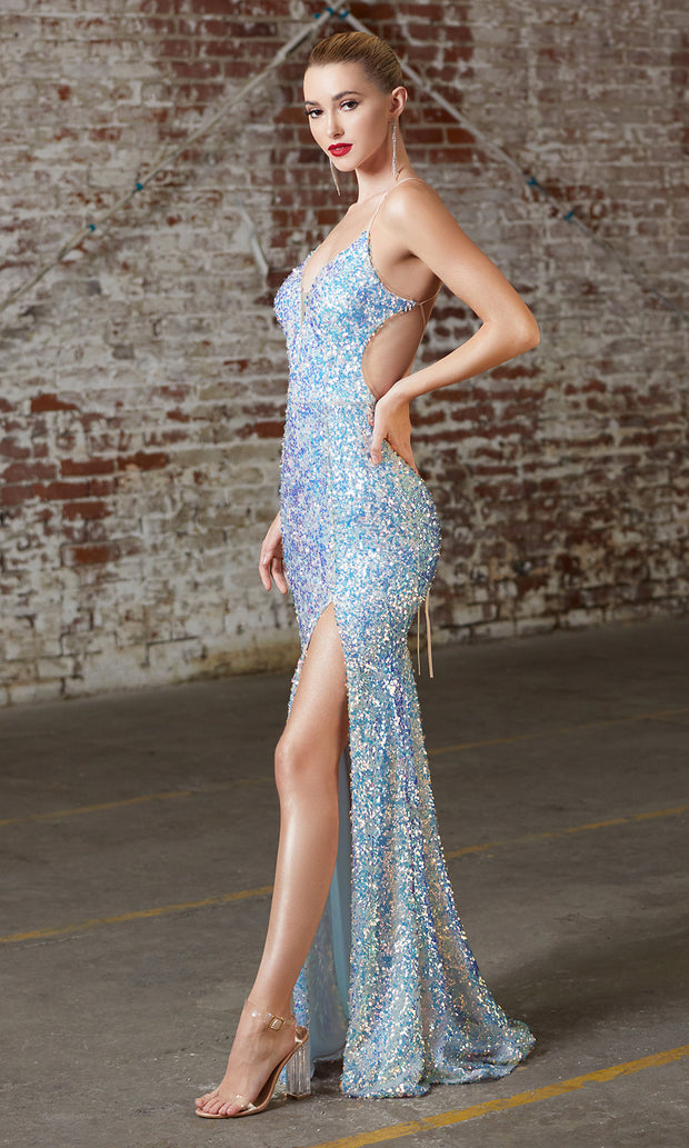 Cinderella Divine CD175 opal blue v neck sequin beaded dress whigh slit. Perfect light blue dress for prom, wedding reception or engagement dress, indowestern gown, sweet 16, formal party dress, gala. Plus sizes avail-s