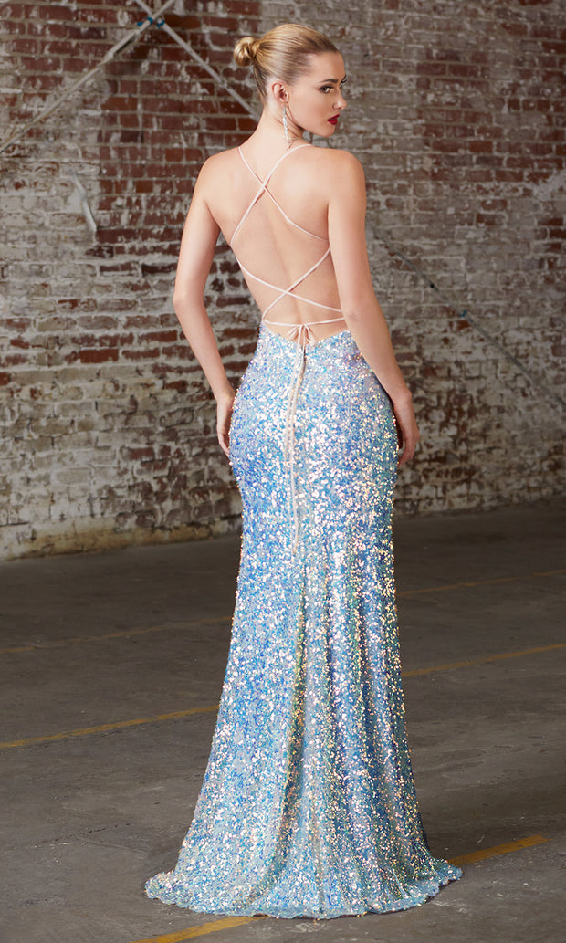 Cinderella Divine CD175 opal blue v neck sequin beaded dress whigh slit. Perfect light blue dress for prom, wedding reception or engagement dress, indowestern gown, sweet 16, formal party dress, gala. Plus sizes avail-b