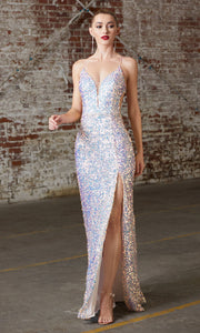Cinderella Divine CD175 opal blush v neck sequin beaded dress whigh slit. Perfect light pink dress for prom, wedding reception or engagement dress, indowestern gown, sweet 16, formal party dress, gala. Plus sizes avail
