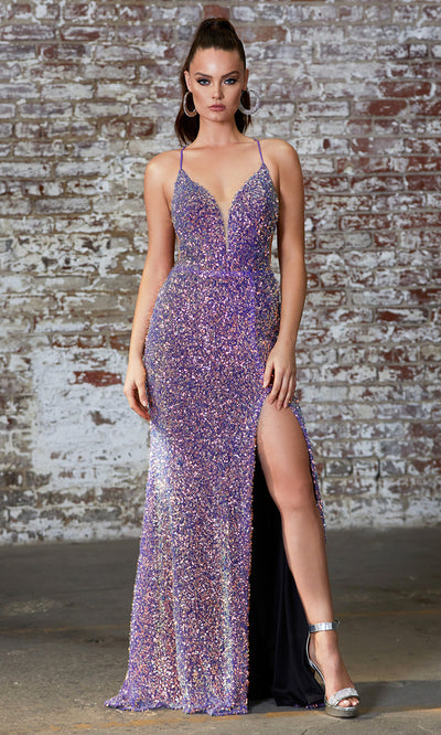 Cinderella Divine CD175 purple v neck sequin beaded dress whigh slit. Perfect purple dress for prom, wedding reception or engagement dress, indowestern gown, sweet 16, formal party dress, gala. Plus sizes avail