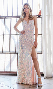 Cinderella Divine CD176 opal pink v neck sequin beaded dress w/high slit & open back. Perfect light pink dress for prom, wedding reception or engagement dress, indowestern gown, sweet 16, formal party dress, gala. Plus sizes avail
