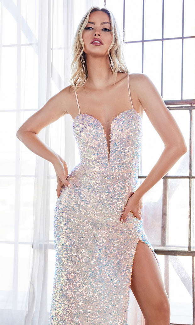 Cinderella Divine CD176 opal pink v neck sequin beaded dress w/high slit & open back. Perfect light pink dress for prom, wedding reception or engagement dress, indowestern gown, sweet 16, formal party dress, gala. Plus sizes avail-c