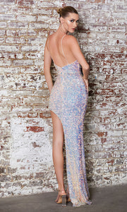 Cinderella Divine CD181 opal blush v neck sequin beaded dress w/high slit & wide straps. Perfect light pink dress for prom, wedding reception or engagement dress, indowestern gown, sweet 16, formal party dress, gala. Plus sizes avail-b