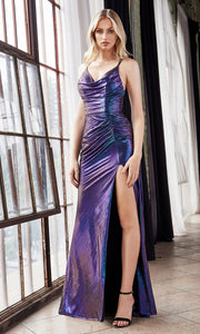 Cinderella Divine CD188 purple blue v neck shiny dress w/high slit & open back. Perfect two tone dress for prom, wedding reception or engagement dress, indowestern gown, sweet 16, formal party dress, gala. Plus sizes avail.jpg