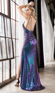 Cinderella Divine CD188 purple blue v neck shiny dress w/high slit & open back. Perfect two tone dress for prom, wedding reception or engagement dress, indowestern gown, sweet 16, formal party dress, gala. Plus sizes avail-b.jpg