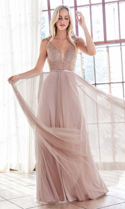 Cinderella Divine CD192 blush pink v neck beaded top dress w/wide straps. Perfect light pink dress for prom, wedding reception or engagement dress, indowestern gown, sweet 16, formal party dress, gala. Plus sizes avail.jpg