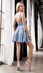 Cinderella Divine CD201 short opal blue flowy simple v neck party dress w/simple skirt & rhinestone belt. Blue metallic is perfect for prom, graduation, grade 8 grad, confirmation dress, bat mitzvah dress, quinceanera damas. Plus sizes avail-b