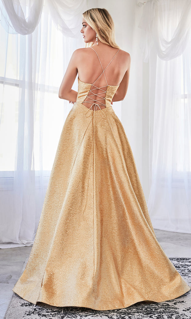 Cinderella Divine CD203 gold scoop neck gold metallic flowy dress w/straps & corset back. Perfect gold dress for prom, wedding reception or engagement dress, indowestern gown, sweet 16, formal party dress, gala. Plus sizes avail.jpg