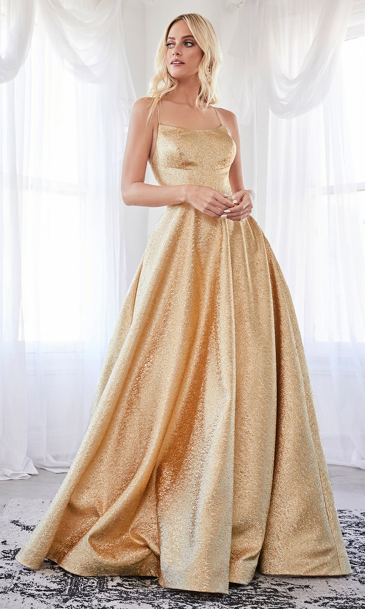 Cinderella Divine CD203 gold scoop neck gold metallic flowy dress w/straps & corset back. Perfect gold dress for prom, wedding reception or engagement dress, indowestern gown, sweet 16, formal party dress, gala. Plus sizes avail-b.jpg
