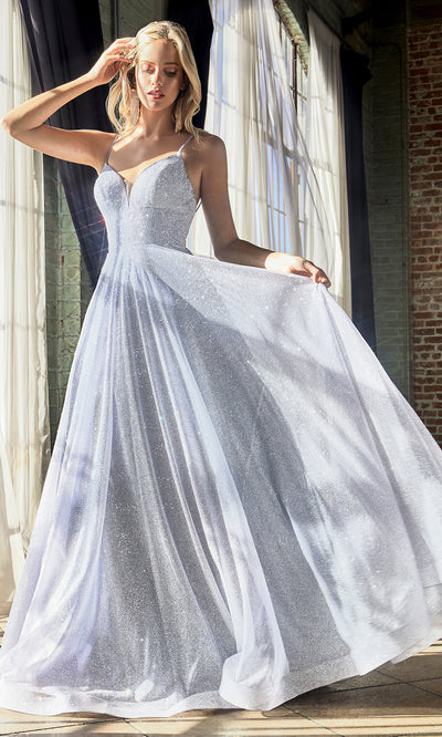 Cinderella Divine CD205 light blue v neck metallic flowy dress w/straps. Perfect light blue dress for prom, wedding reception or engagement dress, indowestern gown, sweet 16, formal party dress, gala. Plus sizes avail-b