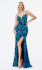 Cinderella Divine CD207 teal v neck sequin beaded dress w/high slit. Perfect teal dress for prom, black tie event, gala, formal party dress, wedding guest dress. Plus sizes avail.jpg