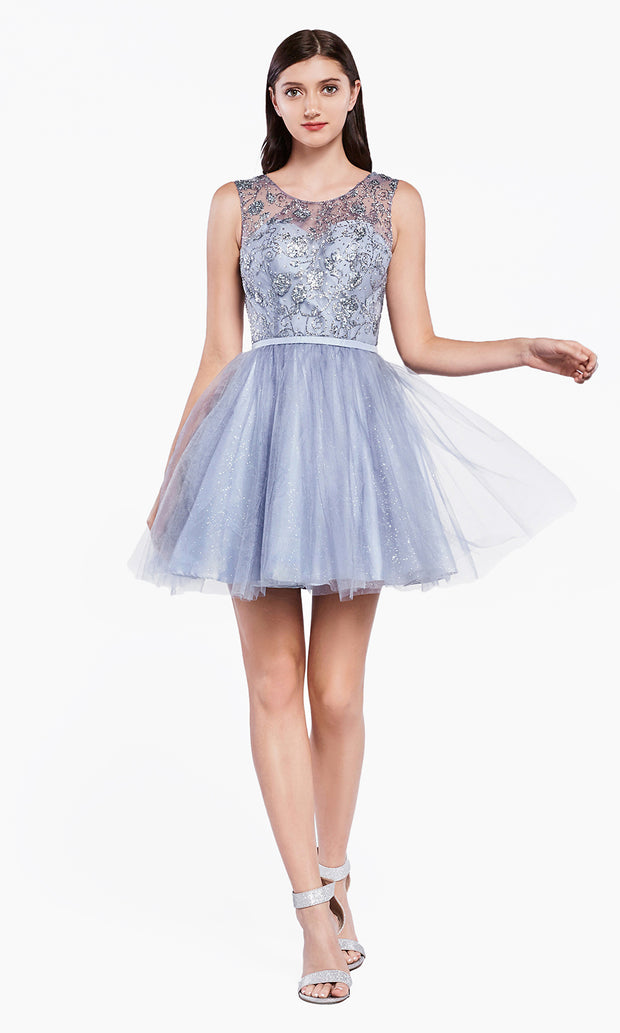 Cinderella Divine CD20 short dusty blue flowy high neck sequin beaded party dress w/ wide straps. Blue grey shiny dress is perfect for prom, graduation, grade 8 grad, confirmation dress, bat mitzvah dress, quinceanera damas. Plus sizes avail-2