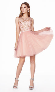 Cinderella Divine CD20 short rose gold flowy high neck sequin beaded party dress w/ wide straps. Pink shiny dress is perfect for prom, graduation, grade 8 grad, confirmation dress, bat mitzvah dress, quinceanera damas. Plus sizes avail