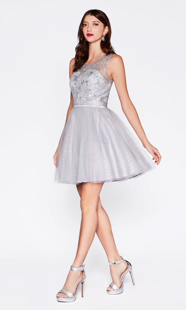 Cinderella Divine CD20 short silver grey flowy high neck sequin beaded party dress w/ wide straps. Light grey shiny dress is perfect for prom, graduation, grade 8 grad, confirmation dress, bat mitzvah dress, quinceanera damas. Plus sizes avail