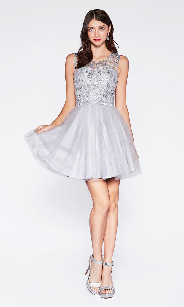 Cinderella Divine CD20 short silver grey flowy high neck sequin beaded party dress w/ wide straps. Light grey shiny dress is perfect for prom, graduation, grade 8 grad, confirmation dress, bat mitzvah dress, quinceanera damas. Plus sizes avail-2