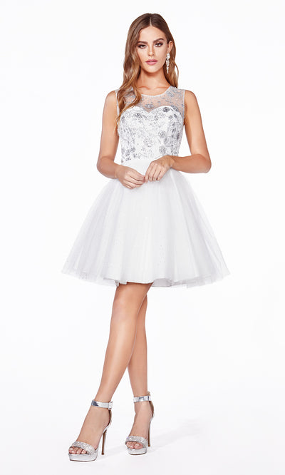 Cinderella Divine CD20 short white flowy simple shiny short dress w/puffy skirt. This high neck glittery dress is perfect for prom, graduation, grade 8 grad, short party dress, bridal shower dress. Plus sizes avail for this white semi formal dress